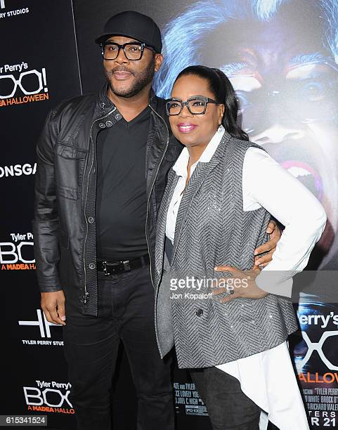 Tyler Perry and Oprah Winfrey arrive at the Los Angeles Premiere Boo A Madea Halloween at ArcLight Cinemas Cinerama Dome on October 17 2016 in...