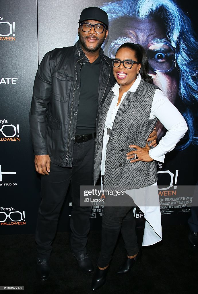 Tyler Perry and Oprah Winfrey attend the premiere of Lionsgate's 'Boo! A Madea Halloween' on October 17, 2016 in Hollywood, California.