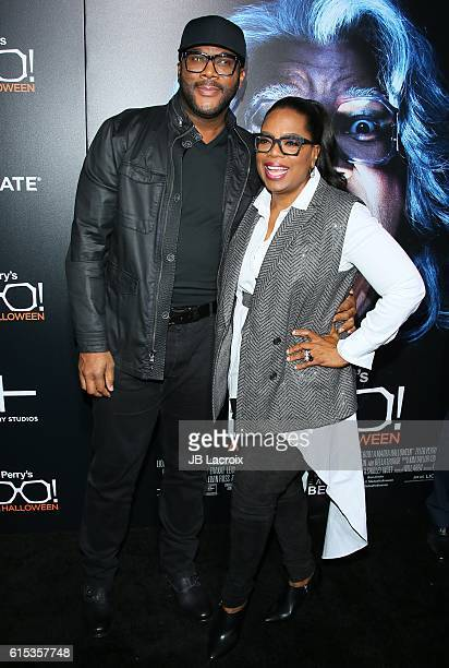 Tyler Perry and Oprah Winfrey attend the premiere of Lionsgate's 'Boo A Madea Halloween' on October 17 2016 in Hollywood California