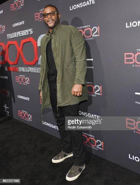 Tyler Perry arrives at the premiere of Lionsgate's Tyler Perry's Boo 2 A Madea Halloween at Regal LA Live Stadium 14 on October 16 2017 in Los...