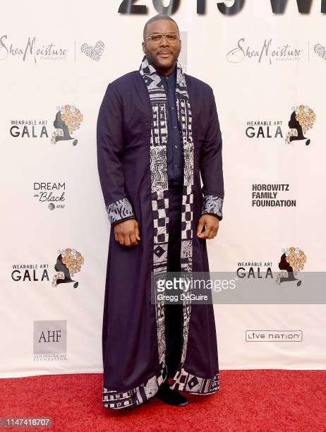 Tyler Perry arrives at the WACO Theater Center's 3rd Annual Wearable Art Gala at The Barker Hangar at Santa Monica Airport on June 1 2019 in Santa...
