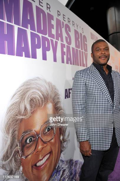 Tyler Perry arrives to Tyler Perry's Madea's Big Happy Family Los Angeles Premiere at The Dome at Arclight Hollywood on April 19 2011 in Hollywood...