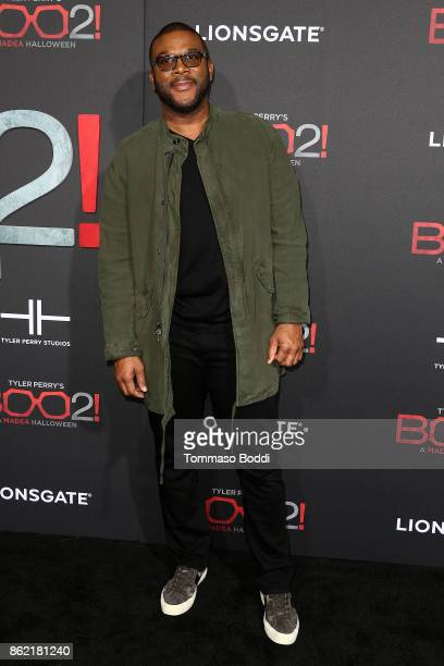 Tyler Perry attends the Premiere Of Lionsgate's Tyler Perry's Boo 2 A Madea Halloween at Regal LA Live Stadium 14 on October 16 2017 in Los Angeles...