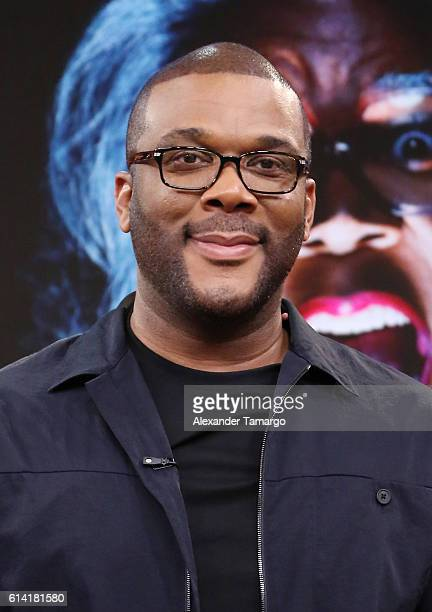 Tyler Perry is seen on the set of Despierta America to promote the film Boo A Madea Halloween at Univision Studios on October 12 2016 in Miami Florida