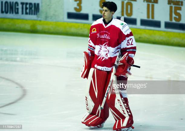 Tyler Perry of Swindon Wildcats during National Ice Hockey League between Guildford Phoenix and Swindon Wildcats 2 at Guildford Spectrum Stadium in...