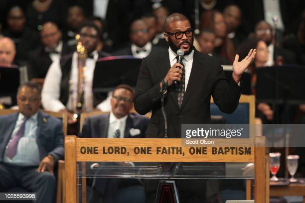 Tyler Perry speaks at the funeral for Aretha Franklin at the Greater Grace Temple on August 31 2018 in Detroit Michigan Franklin died at her home in...