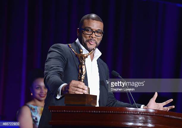 Tyler Perry speaks at the Jackie Robinson Foundation Awards Dinner at Waldorf Astoria Hotel on March 9 2015 in New York City