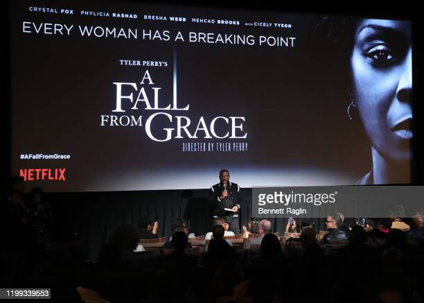 Tyler Perry speaks during the Netflix Premiere for Tyler Perry's A Fall From Grace at Metrograph on January 13 2020 in New York City