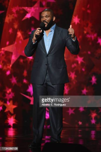 Tyler Perry speaks onstage at AllStar Lineup Pays Tribute At 'Aretha A GRAMMYCelebration For The Queen Of Soul at The Shrine Auditorium on January...