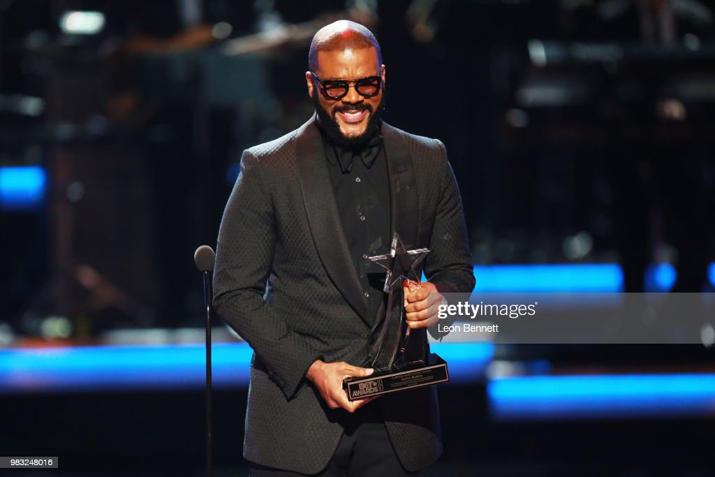 Tyler Perry speaks onstage at the 2018 BET Awards at Microsoft Theater on June 24, 2018 in Los Angeles, California.