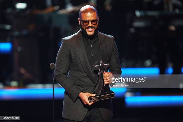 Tyler Perry speaks onstage at the 2018 BET Awards at Microsoft Theater on June 24 2018 in Los Angeles California
