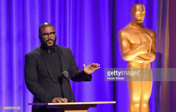 Tyler Perry speaks onstage during the Academy of Motion Picture Arts and Sciences' 10th annual Governors Awards at The Ray Dolby Ballroom at...