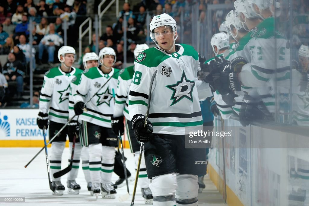 Tyler Pitlick #18 of the Dallas Stars celebrates his goal in the third period against the San Jose Sharks with teammates at SAP Center on February 18, 2018 in San Jose, California.