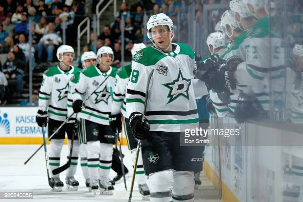 Tyler Pitlick of the Dallas Stars celebrates his goal in the third period against the San Jose Sharks with teammates at SAP Center on February 18...