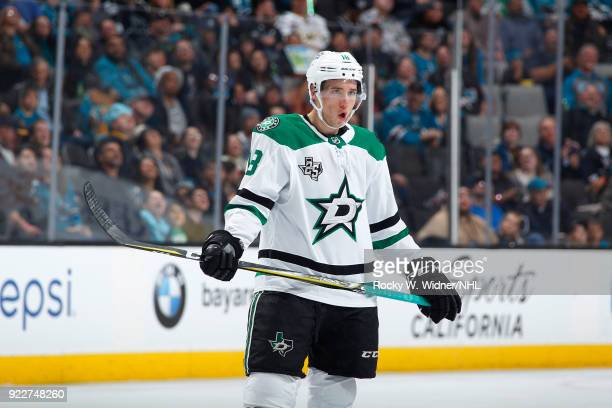 Tyler Pitlick of the Dallas Stars looks on during the game against the San Jose Sharks at SAP Center on February 18 2018 in San Jose California