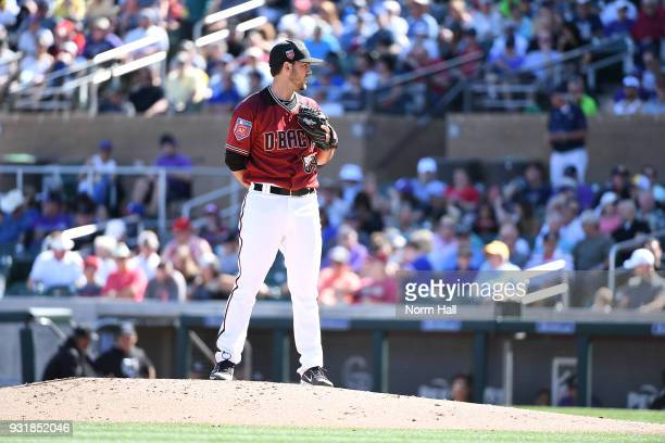 Tyler Pitt of the Arizona Diamondbacks delivers a pitch during a spring training game against the Colorado Rockies at Salt River Fields at Talking...