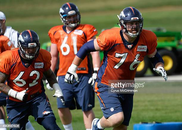 Tyler Polumbus right has resigned with the Denver Broncos at practice today at the team's Dove Valley complex on Thursday October 1 2015 Polumbus...