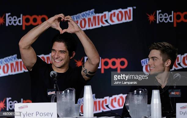 Tyler Posey and Dylan Sprayberry from Teen Wolf attend New York ComicCon 2015 day 2 at The Jacob K Javits Convention Center on October 9 2015 in New...