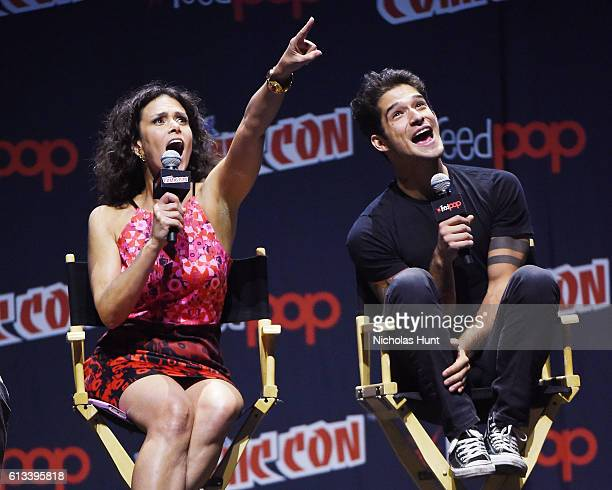Tyler Posey and Melissa Ponzio attend the 'Teen Wolf' Final Farewell during day 3 of 2016 New York Comic Con at Hammerstein Ballroom on October 8...