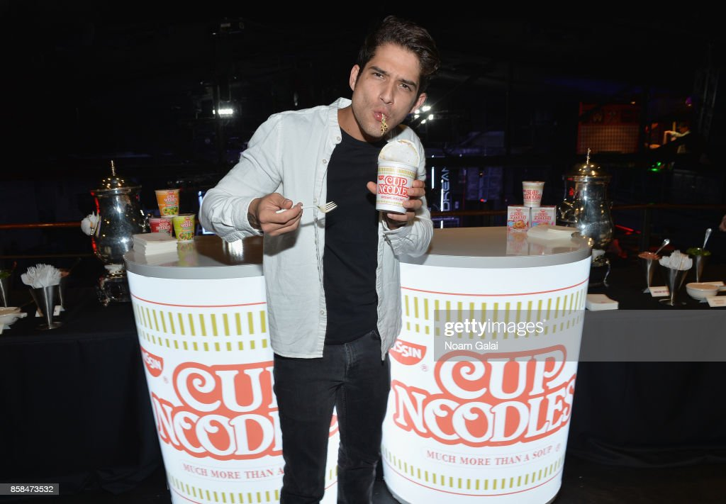 Tyler Posey hosts Nissin Cup Noodles' Noods Before Dark pre-party before the annual celebrity-packed Heroes After Dark celebration at Highline Ballroom on October 6, 2017 in New York City. New York Comic Con fan favorite and MTV 'Teen Wolf' actor, Tyler Posey warms up for the Noods Before Dark pre-party showing his 'slurp face' while enjoying Nissin Cup Noodles. As presenting sponsor of New York Comic Con's exclusive Heroes After Dark party Nissin Cup Noodles opened the doors of the HighLine Ballroom early for 20 lucky fans to be the first to experience the Nissin Cup Noodles Lair and pose with celebrity host Posey in a one-of-a-kind superhero photo opportunity.