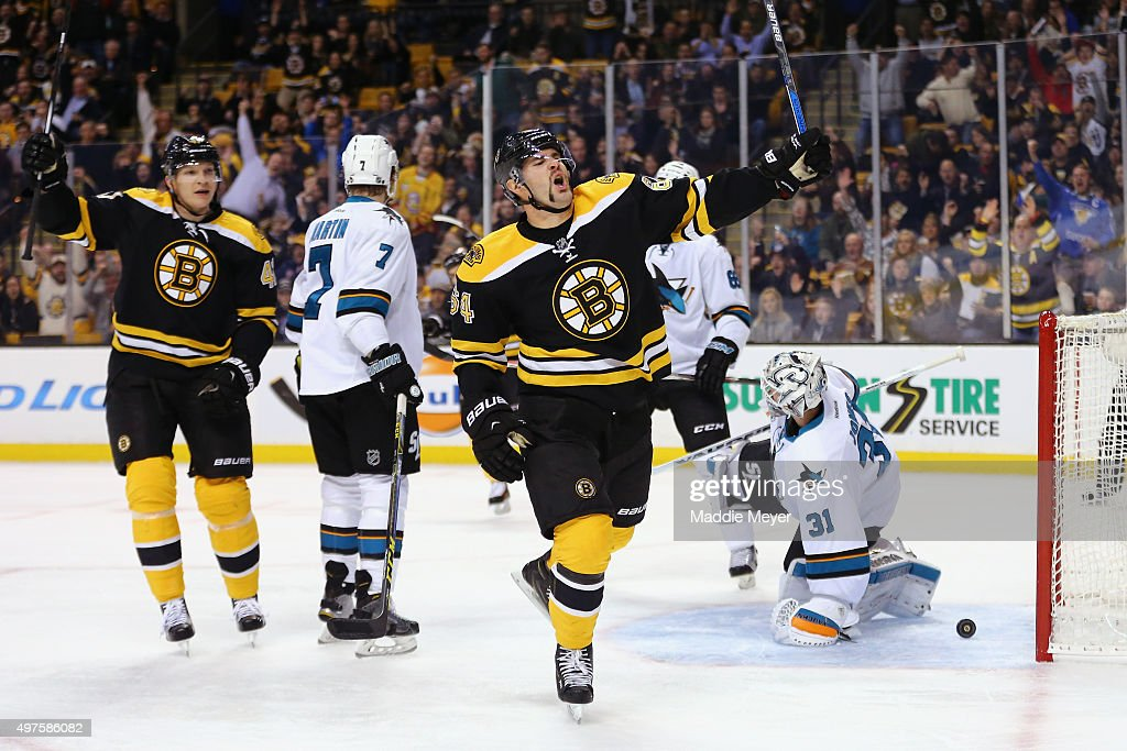 Tyler Randell #64 of the Boston Bruins celebrates after scoring a goal against the San Jose Sharks during the first period at TD Garden on November 17, 2015 in Boston, Massachusetts.