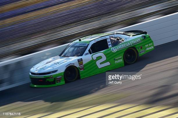 Tyler Reddick, driver of the American Ethanol Chevrolet, drives during practice for the NASCAR Xfinity Series U.S. Cellular 250 at Iowa Speedway on...