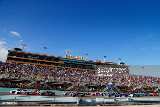 Tyler Reddick driver of the BBR/Granger Smith Chevrolet leads the field past the green flag to start the NASCAR XFINITY Series Championship Ford...