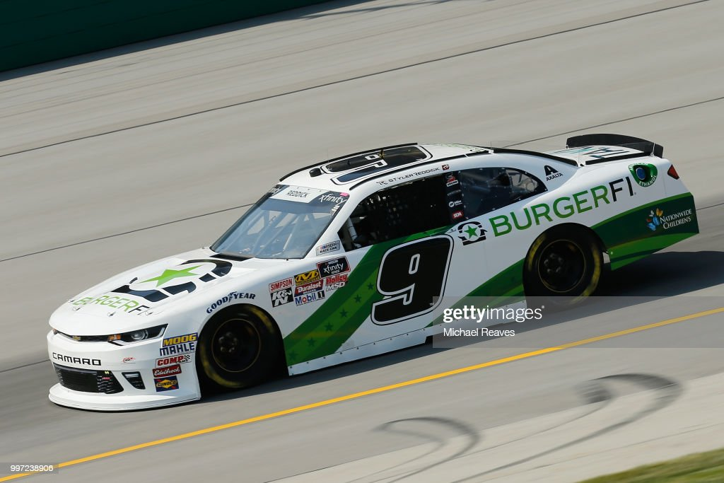 Tyler Reddick, driver of the #9 BurgerFi Chevrolet, practices for the NASCAR Xfinity Series Alsco 300 at Kentucky Speedway on July 12, 2018 in Sparta, Kentucky.
