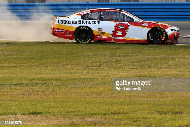 Tyler Reddick, driver of the CatRentalStore.com Chevrolet, spins into the infield grass during the NASCAR Cup Series O'Reilly Auto Parts 253 at...