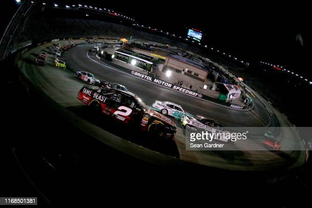 Tyler Reddick driver of the Tame the BEAST Chevrolet races during the NASCAR Xfinity Series Food City 300 at Bristol Motor Speedway on August 16 2019...