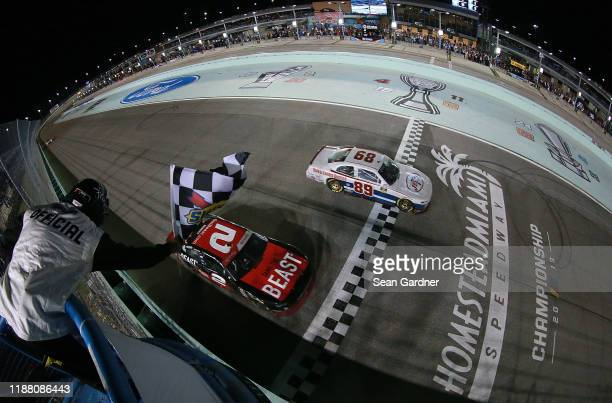 Tyler Reddick driver of the Tame the Beast Chevrolet wins the NASCAR Xfinity Series Championship and the NASCAR Xfinity Series Ford EcoBoost 300 at...