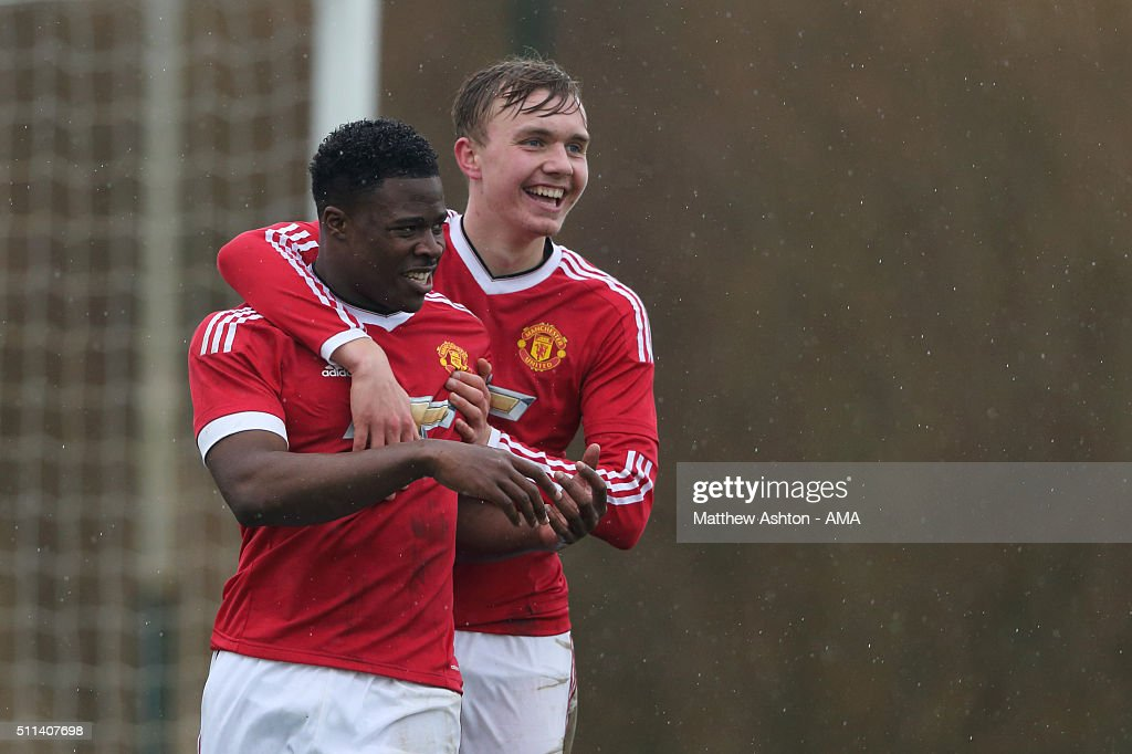 Tyler Reid of Manchester United U18 celebrates after scoring a goal to make it 3-0 during the U18 Premier League match between Manchester United and West Bromwich Albion at Aon Training Complex on February 20, 2016 in Manchester, England.