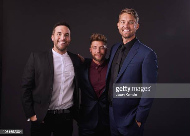Tyler Rich Chris Lane and Brett Young attend Big Machine Label Group Celebrates the 52nd Annual CMA Awards in Nashville at FGL House on November 14...