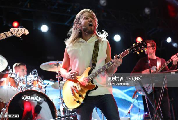 Tyler Ritter Trevor Terndrup and Spencer Thomson of the band Moon Taxi perform during the Enterprise NHL AllStar Friday Night at Curtis Hixon Park on...