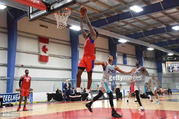 Tyler Roberson of the Agua Caliente Clippers dunks against the Greensboro Swarm during the NBA G League Showcase Game 4 on January 10 2018 at the...