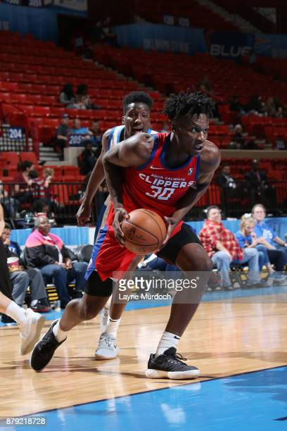 Tyler Roberson of the Agua Caliente Clippers handles the ball during a NBA GLeague game against the Oklahoma City Blue on November 25 2017 at the Cox...