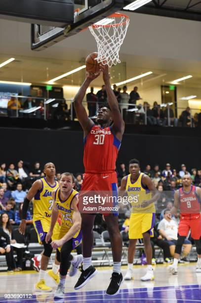 fa14af3b1 Tyler Roberson of the Agua Caliente Clippers shoots the ball against the South  Bay Lakers during