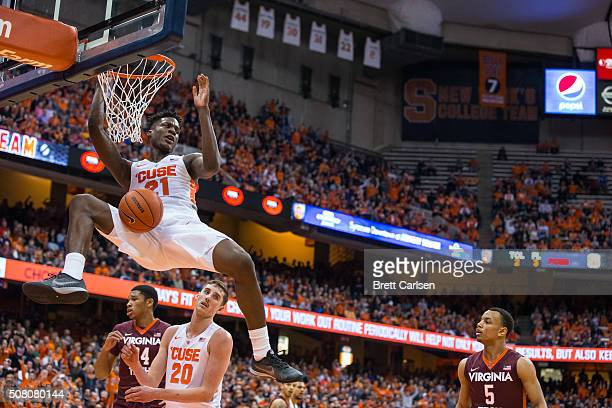 Tyler Roberson of the Syracuse Orange slam dunks during the second half against the Virginia Tech Hokies on February 2 2016 at The Carrier Dome in...