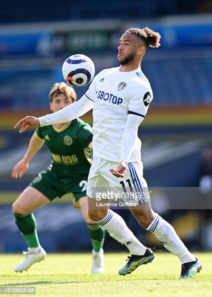 Tyler Roberts of Leeds United controls the ball during the Premier League match between Leeds United and Sheffield United at Elland Road on April 03,...