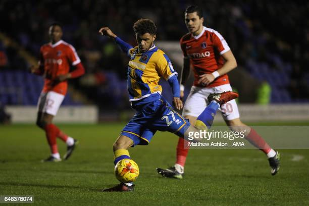 Tyler Roberts of Shrewsbury Town during the Sky Bet League One match between Shrewsbury Town and Charlton Athletic at Greenhous Meadow on February 28...
