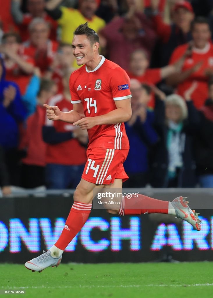 Tyler Roberts of Wales celebrates scoring their 4th goal during the UEFA Nations League B group four match between Wales and Ireland at Cardiff City Stadium on September 6, 2018 in Cardiff, United Kingdom.