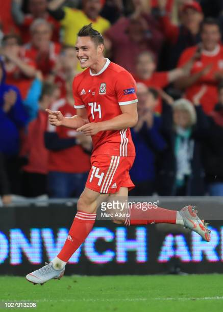 Tyler Roberts of Wales celebrates scoring their 4th goal during the UEFA Nations League B group four match between Wales and Ireland at Cardiff City...