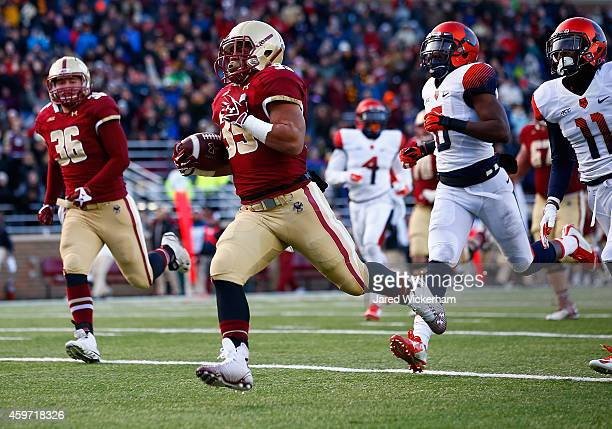 Tyler Rouse of the Boston College Eagles runs in for a touchdown in the fourth quarter against the Syracuse Orangemen during the game at Alumni...