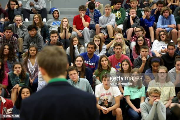 Tyler Ruzich of Prairie Village Kansas speaks during a forum with the three other teenage candidates for Kansas Governor at Free State High School in...
