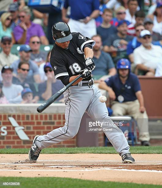 Tyler Saladino 18 of the Chicago White Sox gets his first Major League hit a run scoring triple in the 1st inning against the Chicago Cubs at Wrigley...