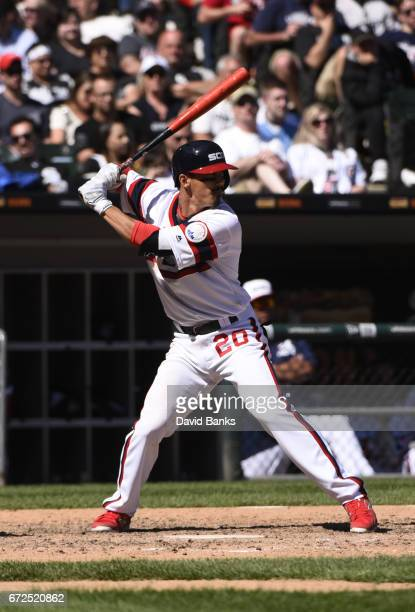 Tyler Saladino of the Chicago White Sox bats against the Cleveland Indians on April 23 2017 at Guaranteed Rate Field in Chicago Illinois
