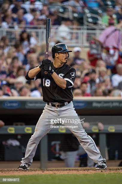 Tyler Saladino of the Chicago White Sox bats against the Minnesota Twins on July 30 2016 at Target Field in Minneapolis Minnesota The White Sox...