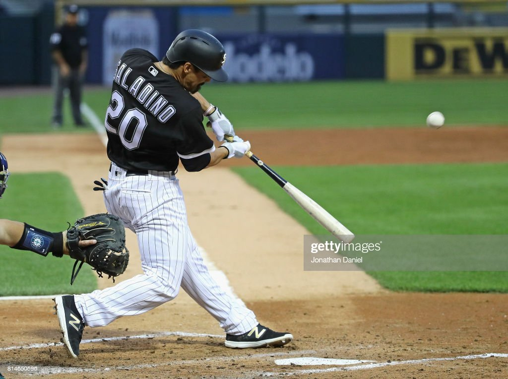 Tyler Saladino #20 of the Chicago White Sox bats against the Seattle Mariners at Guaranteed Rate Field on July 14, 2017 in Chicago, Illinois.