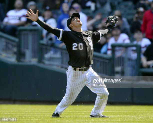 Tyler Saladino of the Chicago White Sox call for a popup during the game against the Minnesota Twins at Guaranteed Rate Field on Saturday April 8...