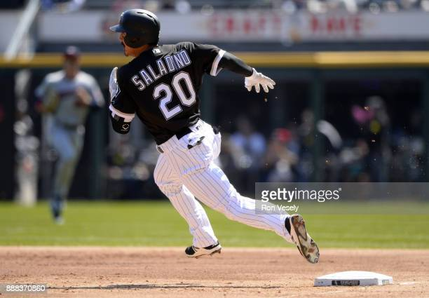 Tyler Saladino of the Chicago White Sox doubles in the first inning during the game against the Minnesota Twins at Guaranteed Rate Field on Saturday...